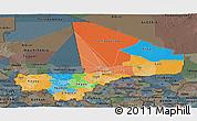 Political Panoramic Map of Mali, darken, semi-desaturated
