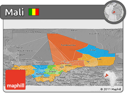 Political Panoramic Map of Mali, desaturated