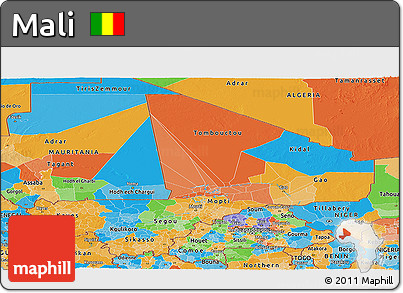 Political Panoramic Map of Mali