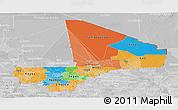 Political Panoramic Map of Mali, lighten, desaturated
