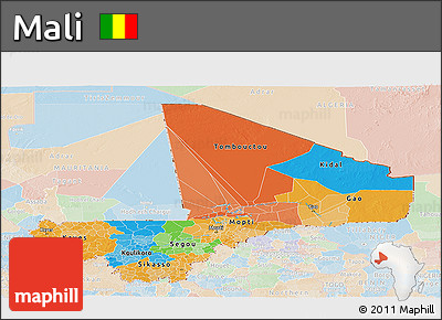 Political Panoramic Map of Mali, lighten