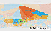 Political Panoramic Map of Mali, lighten