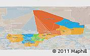 Political Panoramic Map of Mali, lighten, semi-desaturated