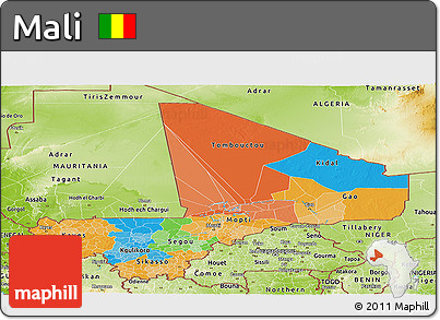 Political Panoramic Map of Mali, physical outside