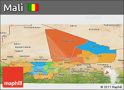 Political Panoramic Map of Mali, satellite outside