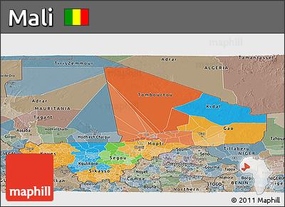 Political Panoramic Map of Mali, semi-desaturated