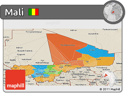 Political Panoramic Map of Mali, shaded relief outside