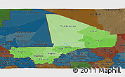 Political Shades Panoramic Map of Mali, darken