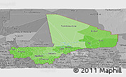 Political Shades Panoramic Map of Mali, desaturated