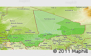 Political Shades Panoramic Map of Mali, physical outside