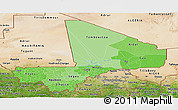 Political Shades Panoramic Map of Mali, satellite outside