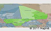 Political Shades Panoramic Map of Mali, semi-desaturated