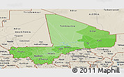 Political Shades Panoramic Map of Mali, shaded relief outside