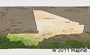 Satellite Panoramic Map of Mali, darken