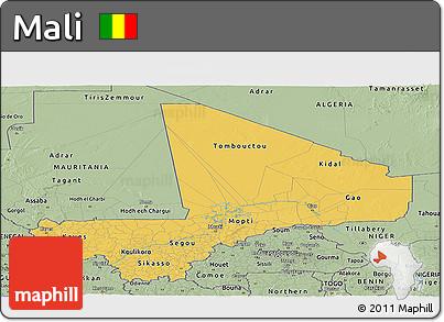 Savanna Style Panoramic Map of Mali