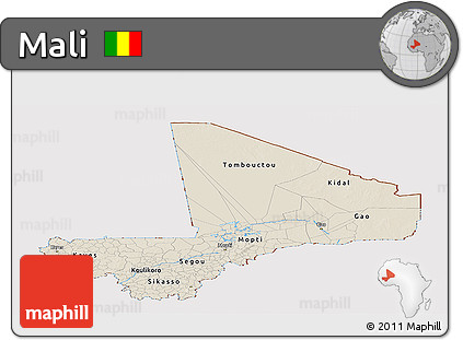 Shaded Relief Panoramic Map of Mali, cropped outside