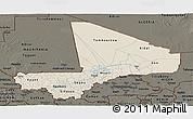 Shaded Relief Panoramic Map of Mali, darken