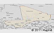 Shaded Relief Panoramic Map of Mali, desaturated