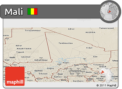 Shaded Relief Panoramic Map of Mali