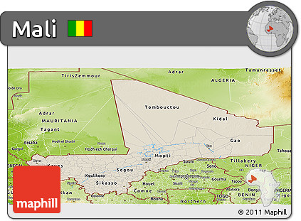Shaded Relief Panoramic Map of Mali, physical outside