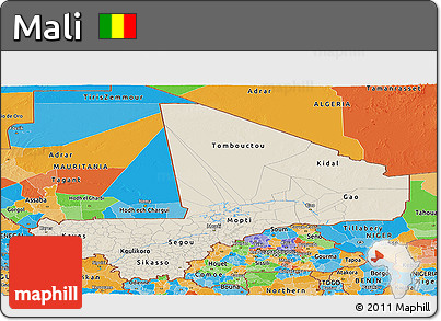 Shaded Relief Panoramic Map of Mali, political outside
