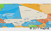Shaded Relief Panoramic Map of Mali, political shades outside