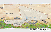 Shaded Relief Panoramic Map of Mali, satellite outside