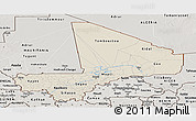 Shaded Relief Panoramic Map of Mali, semi-desaturated