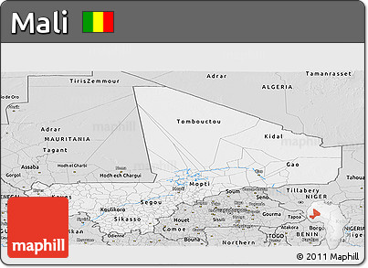 Silver Style Panoramic Map of Mali
