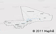Silver Style Panoramic Map of Mali, single color outside