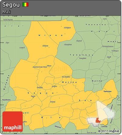 Free Savanna Style Simple Map of Segou