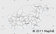 Silver Style Map of Sikasso, single color outside