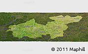 Satellite Panoramic Map of Sikasso, darken