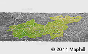 Satellite Panoramic Map of Sikasso, desaturated
