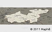 Shaded Relief Panoramic Map of Sikasso, darken