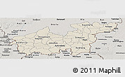 Shaded Relief Panoramic Map of Sikasso, semi-desaturated