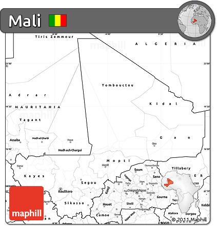 Blank Simple Map of Mali