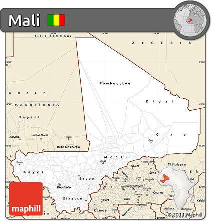 Classic Style Simple Map of Mali