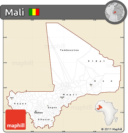 Classic Style Simple Map of Mali, single color outside