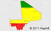 Flag Simple Map of Mali, flag aligned to the middle