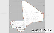 Gray Simple Map of Mali, cropped outside