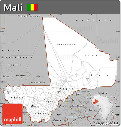 Gray Simple Map of Mali