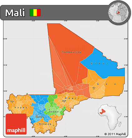 Political Simple Map of Mali, cropped outside