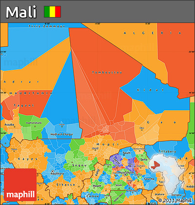 Political Simple Map of Mali