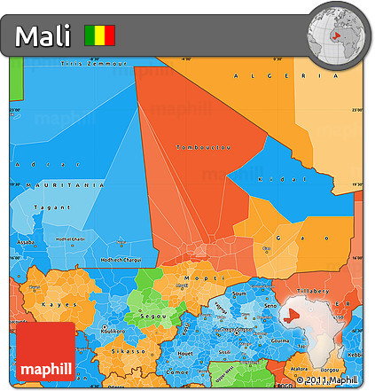 Political Simple Map of Mali, political shades outside