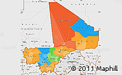 Political Simple Map of Mali, single color outside, borders and labels