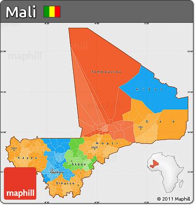 Political Simple Map of Mali, single color outside
