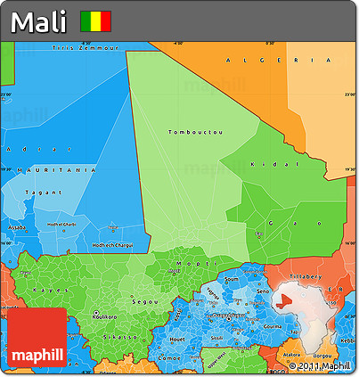 Political Shades Simple Map of Mali