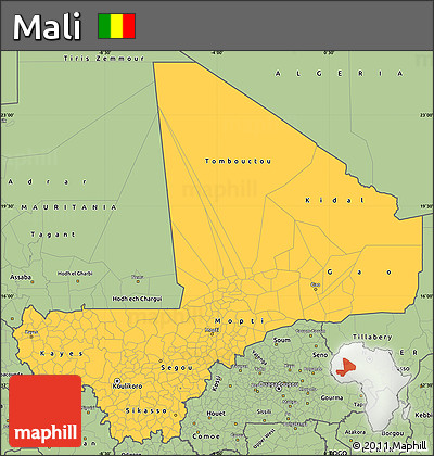 Savanna Style Simple Map of Mali