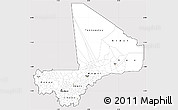 Silver Style Simple Map of Mali, cropped outside